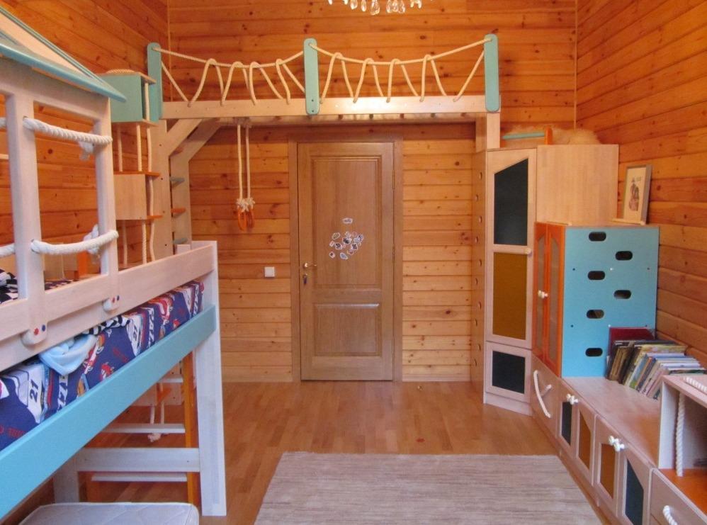 Кровать-чердак, рукоход, угловой шкаф